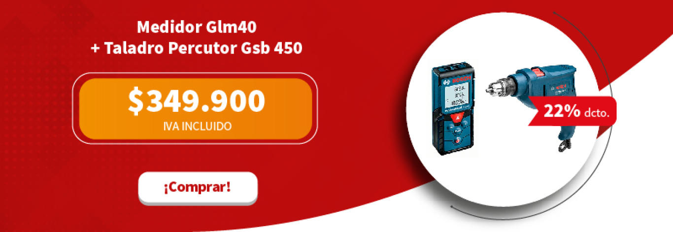 Medidor Glm40 + Taladro Percutor Gsb 450 Re Bosch