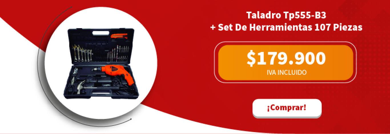 Taladro Tp555-B3 + Set De Herramientas De 107 Piezas Bmt107C