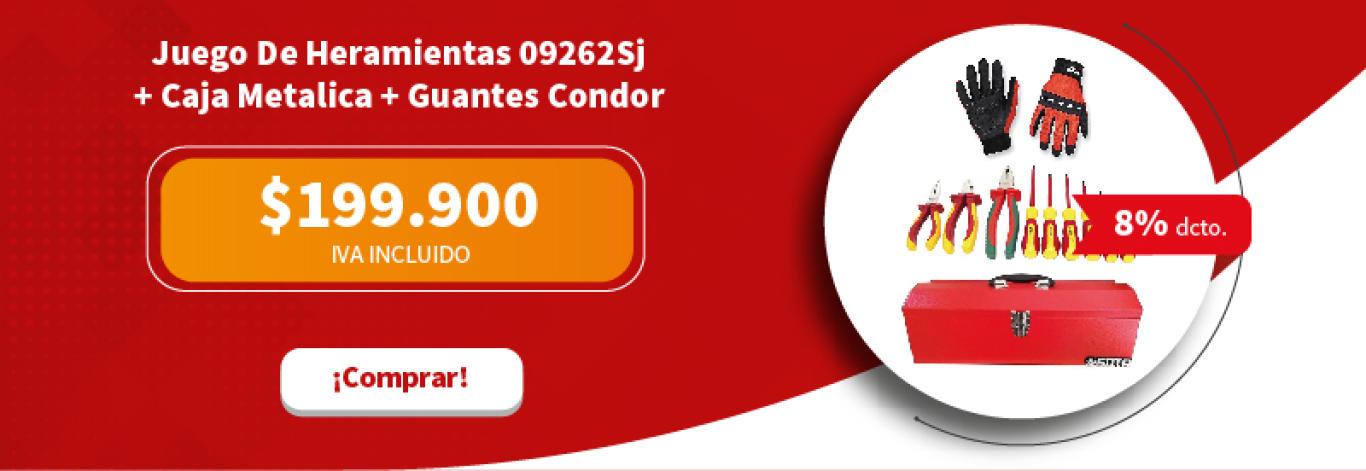 Juego De Heramientas 09262Sj + Caja Metalica Sttb102Sc Y Guantes Condor